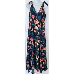 Betsey Johnson Navy Floral Tie Strap Maxi Dress
